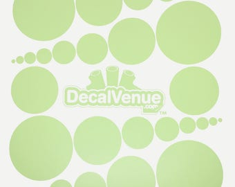 Baby Green Polka Dot Circles Wall Decals - Various sizes - Mix and Match dots vinyl stickers