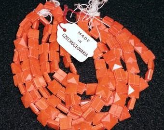 Vintage Orange Nailhead Beads 7mm Square Opaque Glass 100 Pcs.
