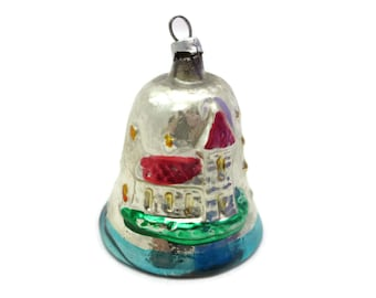 Painted Glass Christmas Ornament - Bell, Church Scene, Vintage Christmas