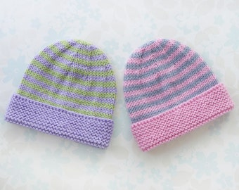 PREMATURE BABY GIRL Hat - to fit 30 to 42 week (3 - 8 lb) baby - baby yarn in stripes of purple and apple green or pink and pale grey