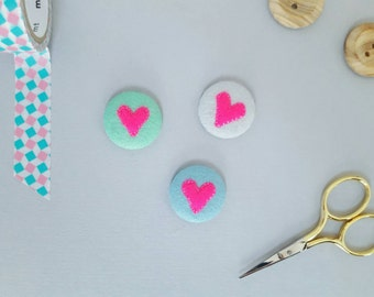 Neon pink heart badges - set of three pink heart badges - stocking filler