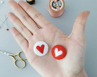 red and white felt heart badges - handmade valentines gift - heart pins