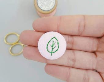 Leaf badge - handstitched green leaf badge - green plants on pink badges - mothers day gift