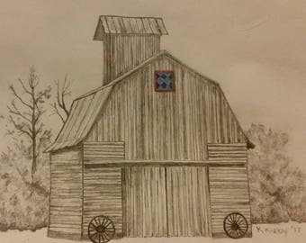 Artist drawn NOTECARDS Pencil drawn printed digitally package of 10 Country Barn Quilt Series
