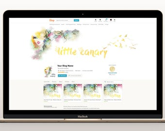 Custom WEBSITE / ETSY Header  ++Plus matching Profile Image and text Logo (Your header / banner at wordpress/blog/facebook/twitter/youtube)