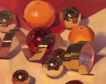 "Art painting still life christmas ornament and gold ribbon ""Unfurled"" by Sarah Sedwick 10x10"""