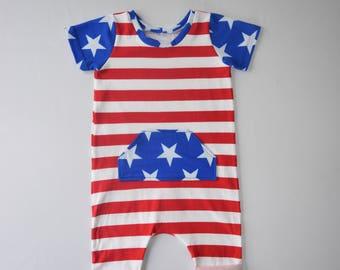 red white blue harem romper - baby toddler kids patriotic romper - stars and stripes romper