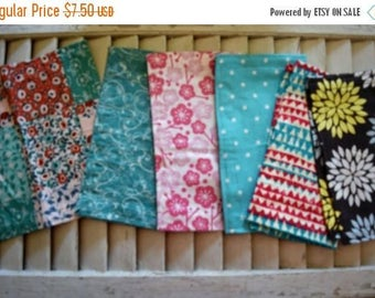 "SALE 10% OFF Set of 6  8"" Flannel Cloth Napkins Mixed Prints"