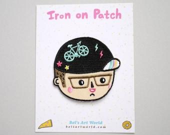 Bike Head Boy Iron On Patch