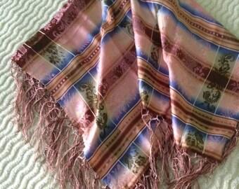 """Austrian fringed silk vintage scarf, """" Trachten"""""""