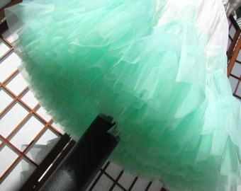 Petticoat Pistachio Mint Green and White Chiffon -- Custom Order