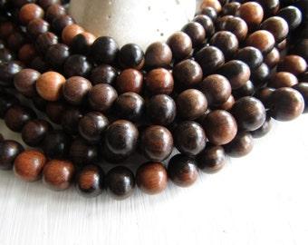 Tiger ebony wood round wood beads , Kamagong Camagong , Dark brown to beige, Philippines, boho Natural exotic 12mm ( 16 inch strd ) 6PH23