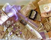 DIY ASSEMBLAGE VINTAGE Collection - Sewing Notions Ecru & Lavender  Collage - Vignette - Vintage Trims and more