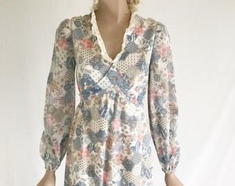 Vintage 70's Hippie Boho Romantic Maxi Dress
