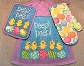 PEEP PEEP CHICKS Double Layer Hanging Decorative Towel, Oven Mitt, and Pot Holder Set, oven door towel, for kitchen, housewarming, gifts