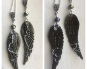 Angel Wings Stamped SPN Quote Friendship Necklace Set There Ain't No Me if There Ain't No You Supernatural SPNFamily