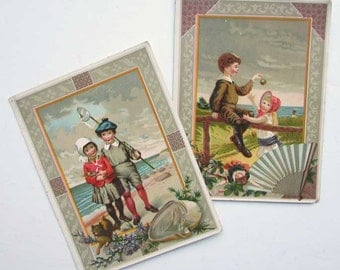 Antique Victorian Greeting Cards, Pair of Original 1890's Cards, Victorian Children at the Seaside,  NY Cheap Cash Grocer Advertising
