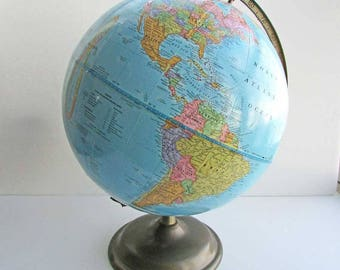 Vintage 1990 Cram's Imperial Desk or Table Top World Globe, Home Decor, Child's Room Decor, Educational Globe