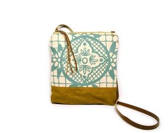 weekdayer • crossbody bag - geometric floral print • aqua blue geometric floral print - waxed canvas - screenprint - iPad bag - travel