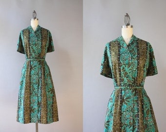 1950s Dress / Vintage 50s Dress / 50s Green Batik Cotton Shirt Dress extra large xl