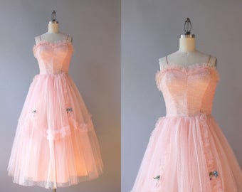 Vintage 50s Dress / 1950s Party Dress / 50s Pale Pink Tulle Prom Dress XS extra small