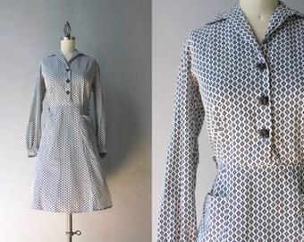 1940s Dress / Vintage 40s Cotton Dress / 1940s Mini Floral Print Dixie Lou Dress L large