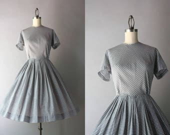 1960s Dress / Vintage 50s 60s Gingham Day Dress / 1950s Gray and White Checked Dress S small 27 waist