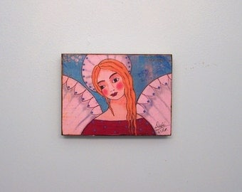 Angel painting Woodblock Print Shabby Folk Art Encaustic