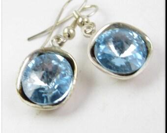 Elegant Swarovski Crystal Light Blue Rivoli Crystal Dangle Earrings