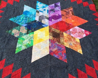 Batiks Galaxy Quilt.  Handcrafted One of a kind Quilt. Art Quilt. Unique One of a kind!