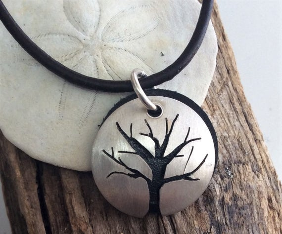 Sterling Silver Tree of Life Necklace with Black Leather