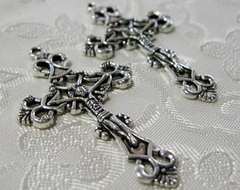 Antique Silver Crucifix Cross Pendant Rosary Charm 105