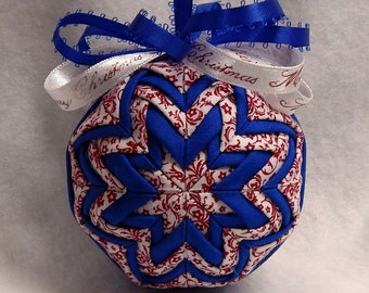 Quilted Christmas Ornament - Red/Blue/White