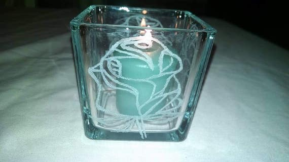 Etched Glass Rose on 3 x3 Square Glass Candle Holder Small Trinket Dish Candy Pens Pencils Mom Sister Friend Wedding Prom Graduation Table