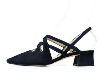 1990s Kenneth Cole Navy Strappy Mules Sandals