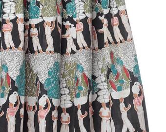 Vintage 1950s CARIBBEAN People Fruit Print Skirt - Midi Bohemian Novelty kitsch Print Cotton High Waisted White Souvenier