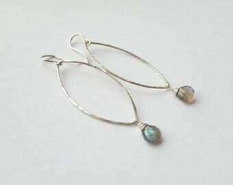 Silver Loop Earring Labradorite Earring Hammered Silver Earring Teardrop Earring Long Dangle Earring Leaf Earrings Open Earrings
