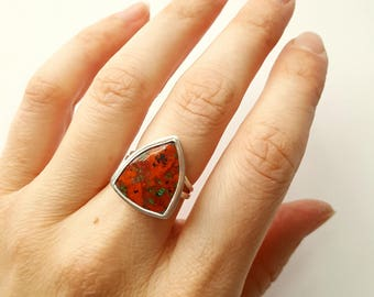 Sonora Sunrise Ring Triangle Ring Red Ring Sterling Silver Ring Unique Stone Ring