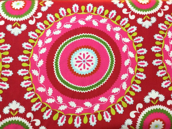 Fq half yard by the yard jeevan red color kumari for Kumari garden fabric by dena designs