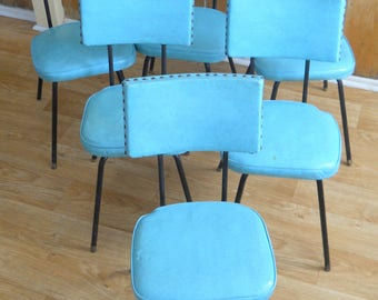 Vintage Vinyl Kitchen Chairs • Set of 6 Vintage Kitchen Chairs • Aqua Vinyl and Black Metal Chairs
