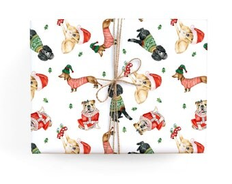 Holiday Dogs Gift Wrap Set