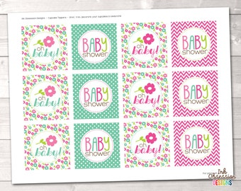 Instant Download Cupcake Toppers Pink & Blue Floral Baby Shower Party Circles - Printable PDF