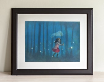 "Firefly Serenity 8x10 Fine Art Print, Firefly Inspired Print, River Tam Painting,  ""Catching Fireflies"""
