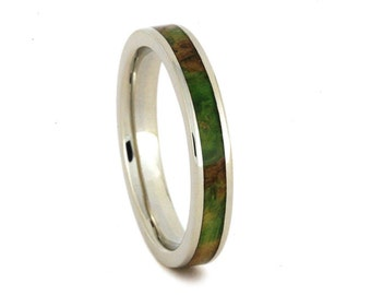 Wooden Wedding Band, 10k White Gold Ring Inlaid With Peridot Box Elder Burl, Wedding Anniversary Ring