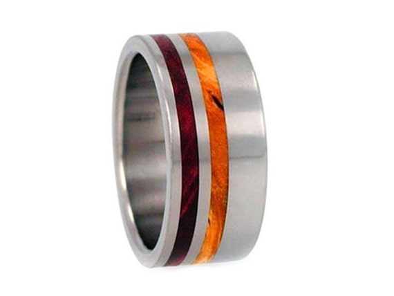 Titanium Wood Ring, Redwood and Gold Box Elder Wood Inlay, Wooden Wedding Band, Ring Armor Included
