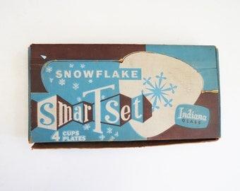 1950's Snowflake Tea Set // Original Box Winter Mid-Century Tea Set // Vintage Home