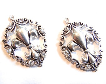 Pair of Fleur de Lis Cut Out Charms Rhinestones Antique Silver-tone