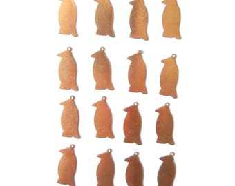 Set of 16 Blank Brass Penguin Charms