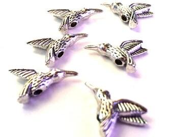 Set of 6 Pewter Hummingbird Beads Dimensional