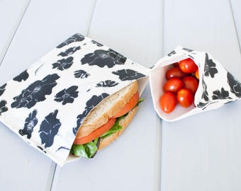 PLASTIC-FREE Organic Sandwich and Snack Bags, Reusable, Eco Friendly - Set of 2 - Back to School -- Black & White Graceland (flowers)